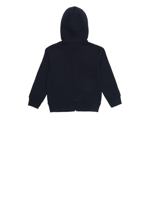 Lacivert Kapüşonlu Şeritli Erkek Bebek Sweatshirt