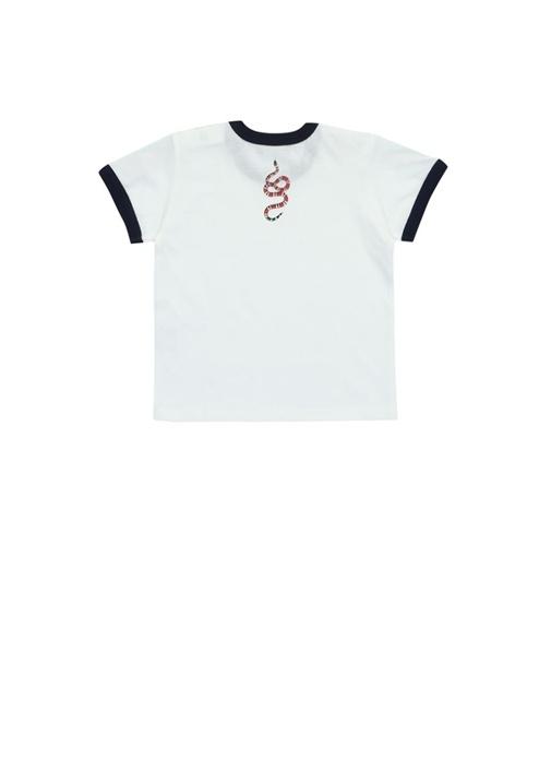 Beyaz Şerit Detaylı Erkek Bebek T-shirt