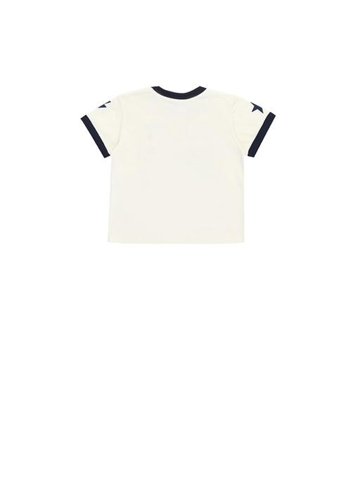 Ekru Bisiklet Yaka Logolu Erkek Bebek T-shirt