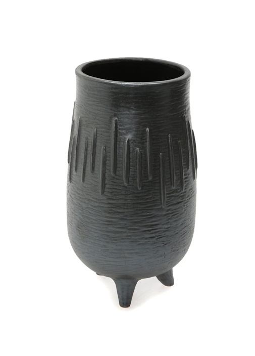 Antrasit Çizgi Desenli Seramik Vazo