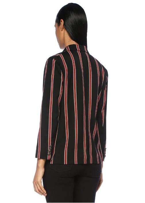 Kırmızı Siyah Çizgili Kelebek Yaka Patchli Ceket