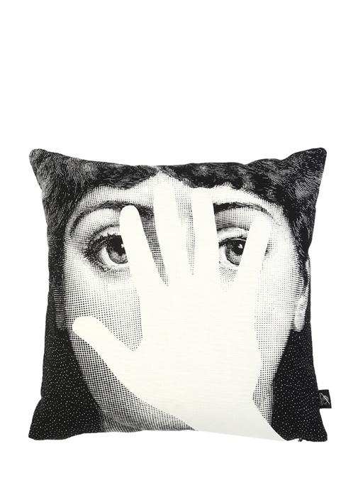 Siyah Beyaz Yüz Baskılı Dekoratif Yastık