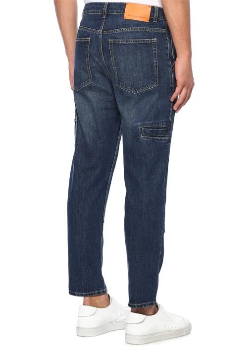 Yüksek Bel Dikiş Detaylı Lacivert Jean Pantolon