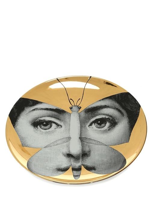 Gold Kelebek Detaylı Yüz Baskılı Dekoratif Tabak