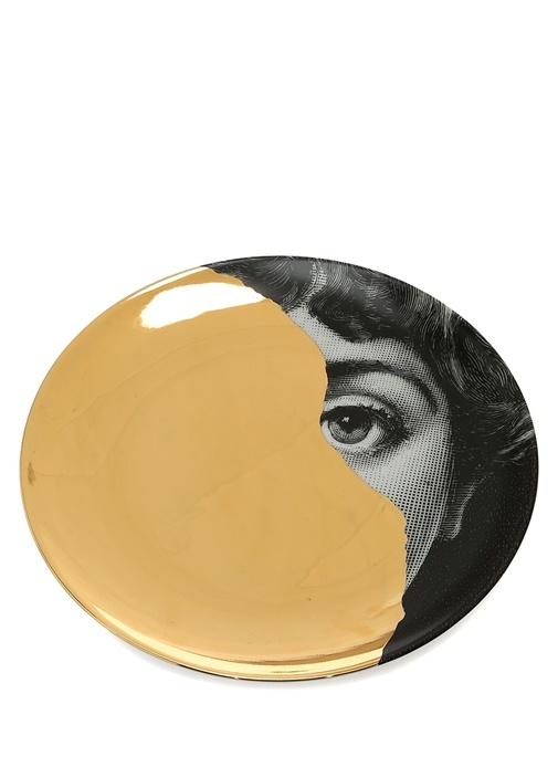 Gold Göz Baskılı Porselen Dekoratif Tabak