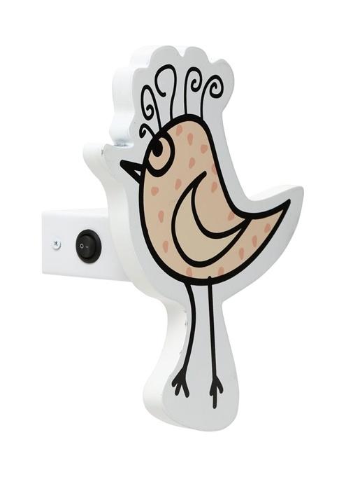 Beyaz Kuş Formlu Unisex Çocuk Ahşap Aydınlatma