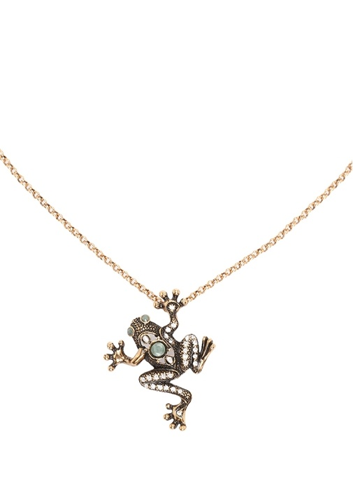 Kurbağa Formlu Taşlı Kadın Gold Kolye