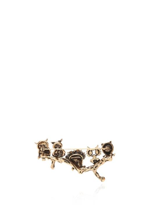 Baykuş Formlu Taşlı Gold Broş