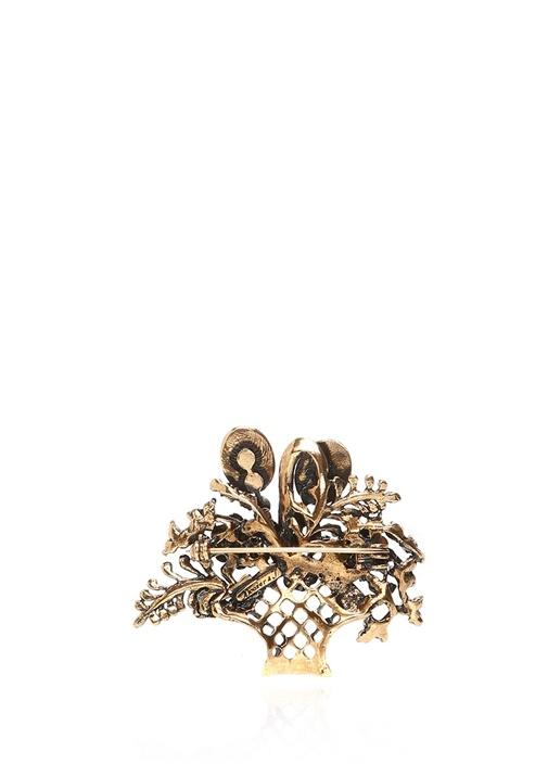 Taç Formlu Taşlı Gold Broş