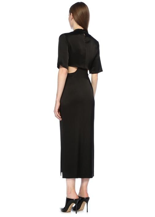 Bhumi Siyah Düğümlü Dekolteli Midi Saten Elbise