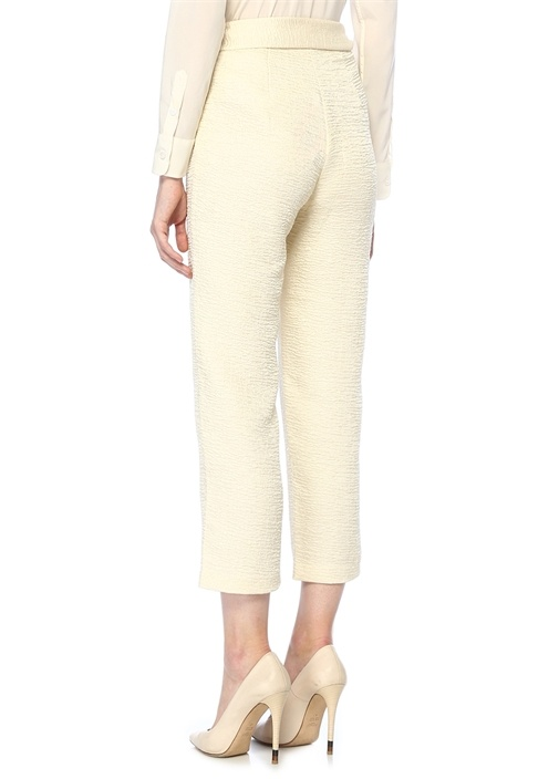 Raimo Ekru Yüksek Bel Çanta Detaylı Crop Pantolon