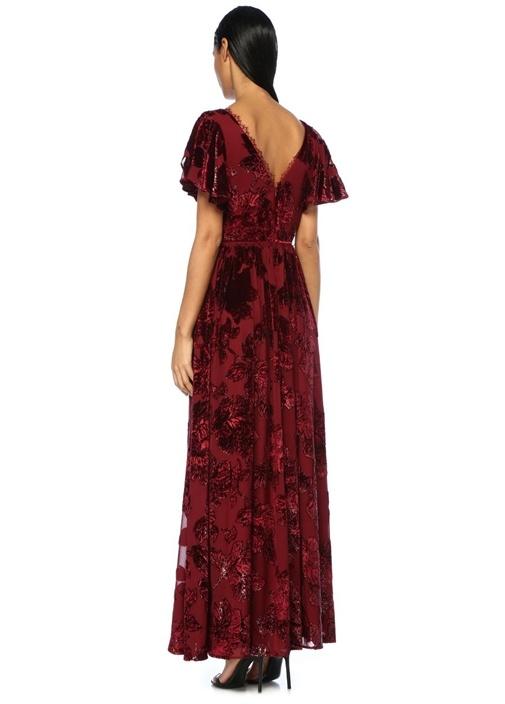 Bordo Kolları Volanlı Parıltı Çiçekli Maxi Elbise