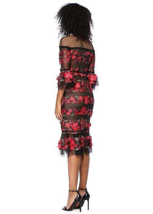 Siyah Pembe Çiçek Nakışlı Midi Tül Kokteyl Elbise