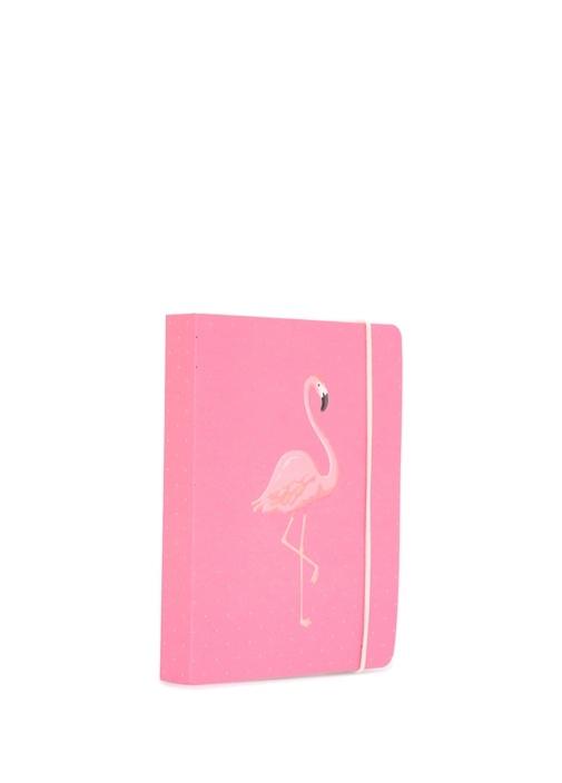 Pembe Flamingo Baskılı Puanlı A6 Defter
