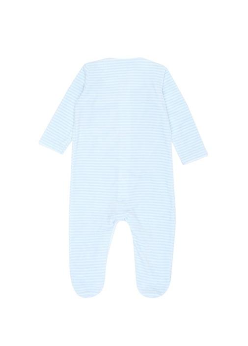 3lü Mavi Çizgili Erkek Bebek Tulum Seti