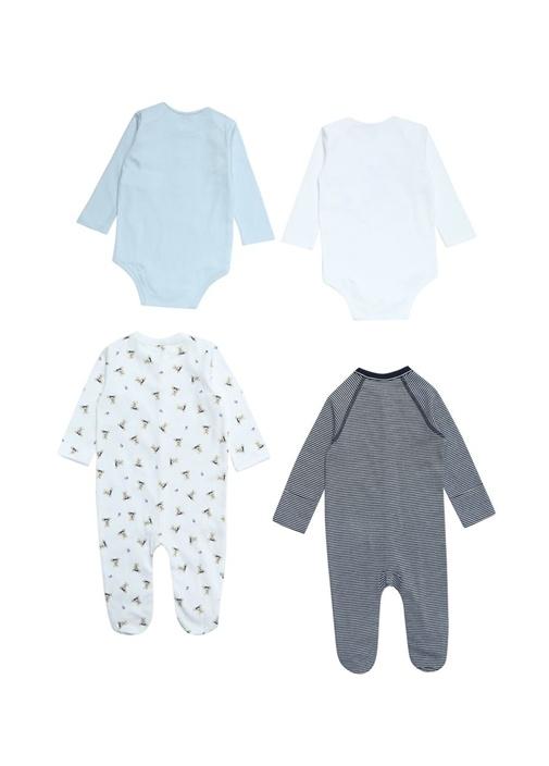 7li Ayıcık Desenli Mavi Erkek Bebek Hediye Seti
