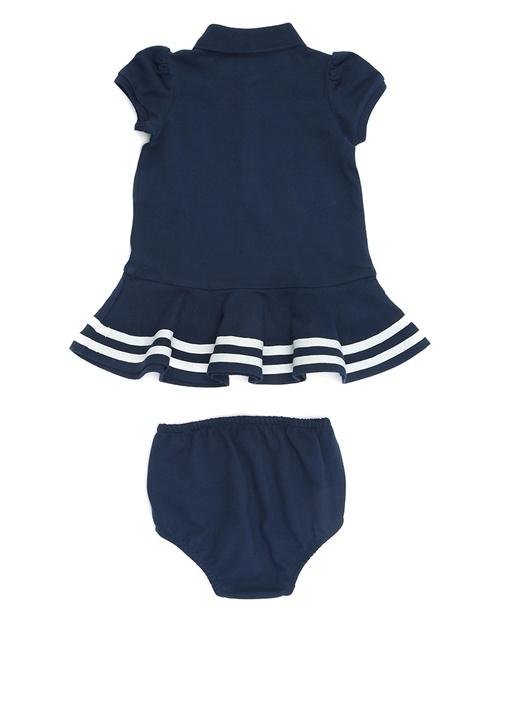 Lacivert Polo Yaka Şeritli Kız Bebek Elbise