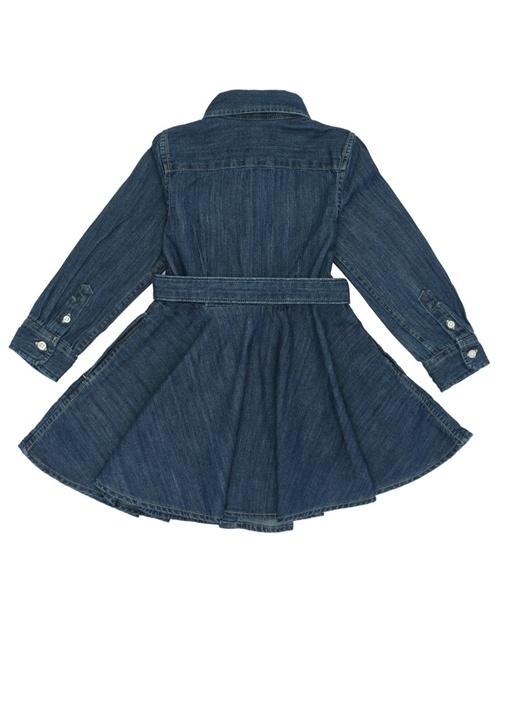 Mavi Kemer Detaylı Logolu Kız Çocuk Elbise