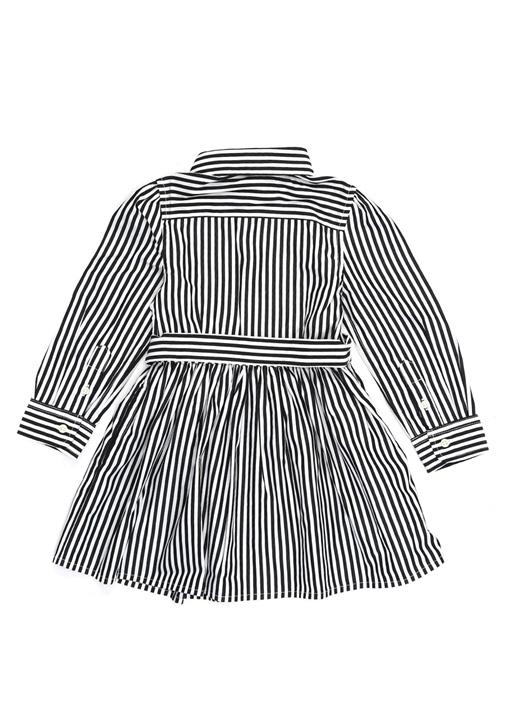 Bengal Siyah Bebe Yaka Çizgili Kız Çocuk Elbise
