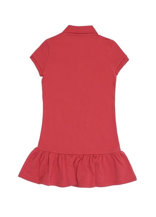 Kırmızı Logo Nakışlı Polo Yaka Kız Çocuk Elbise
