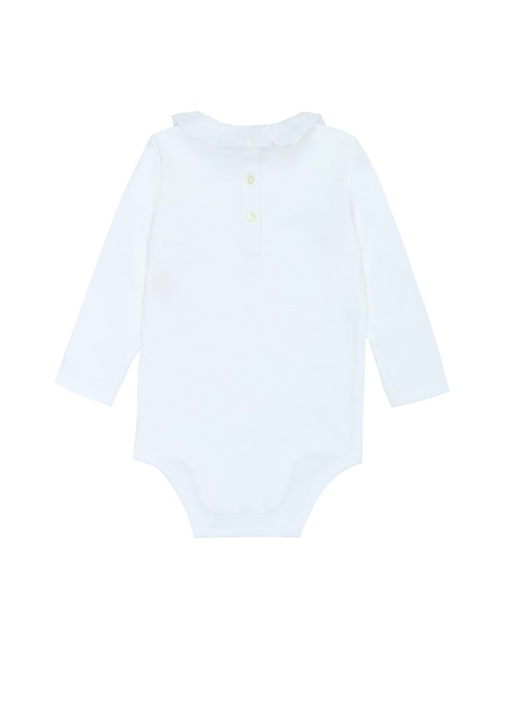Beyaz Yakası Fırfırlı Kız Bebek Tulum