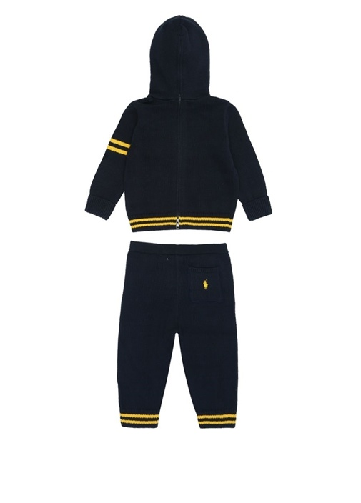Lacivert Sarı Şeritli Erkek Bebek Eşofman Takımı