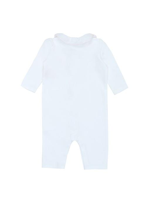 Beyaz Bebe Yaka Kız Bebek Tulum