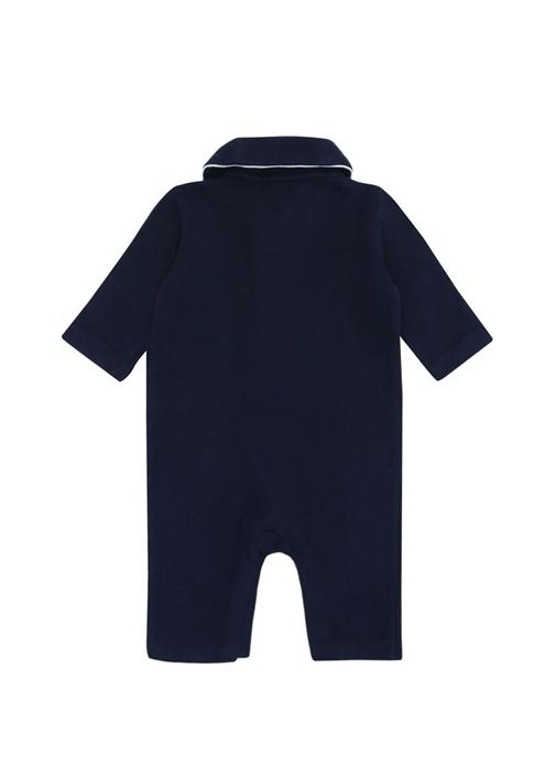 Lacivert Bebe Yaka Şeritli Erkek Bebek Tulum