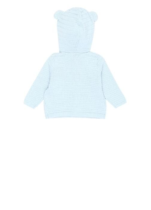 Mavi Kapüşonlu Örgü Dokulu Erkek Bebek Hırka