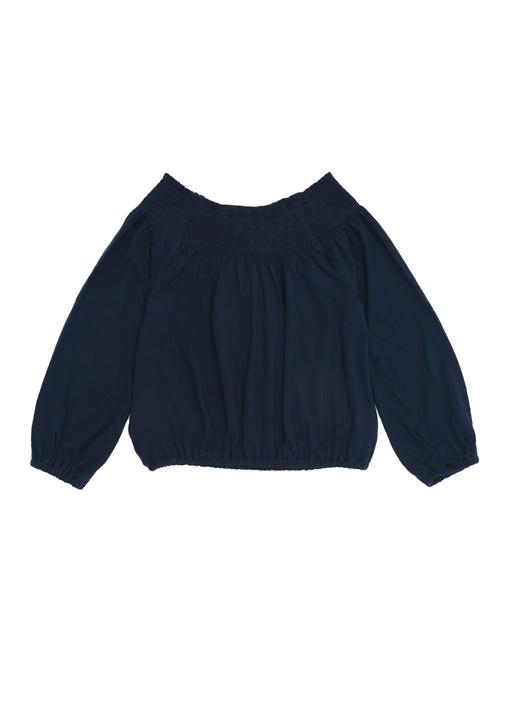 Lacivert Kayık Yaka Kız Çocuk Bluz