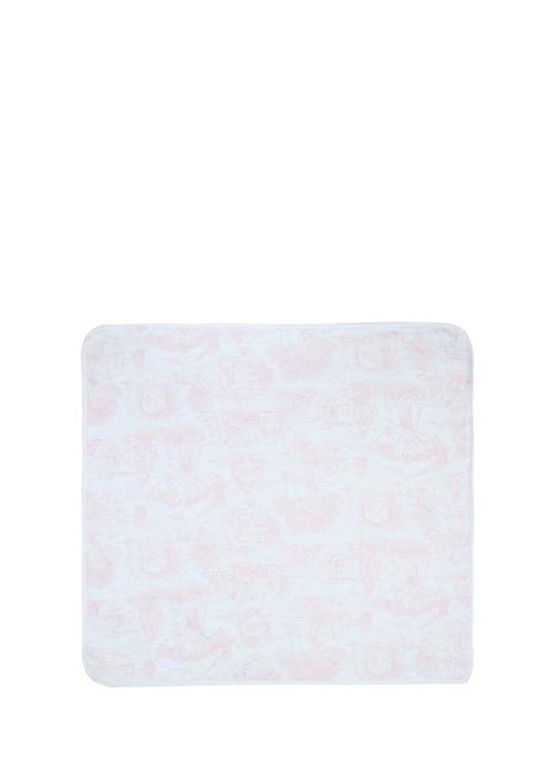 Pembe Beyaz Çiçek Desenli Kız Bebek Battaniye