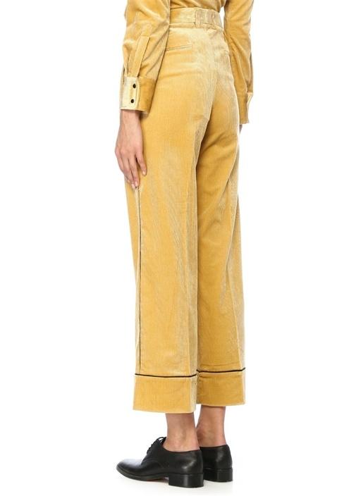 Teresa Sarı Şeritli Boru Paça Kadife Pantolon