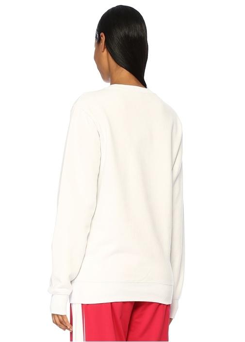 Agata Beyaz Bisiklet Yaka Logolu Sweatshirt