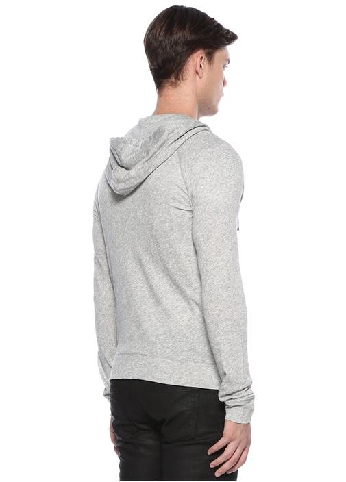 Gri Melanj Logolu Kapüşonlu Sweatshirt