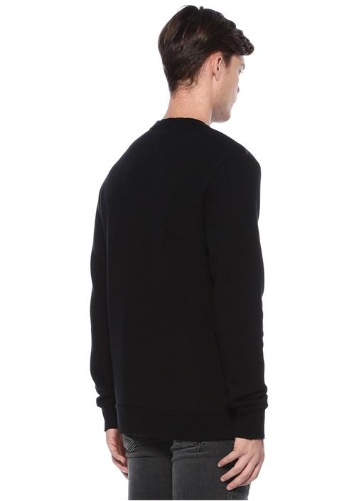 Siyah Bisiklet Yaka Karışık Desenli Sweatshirt