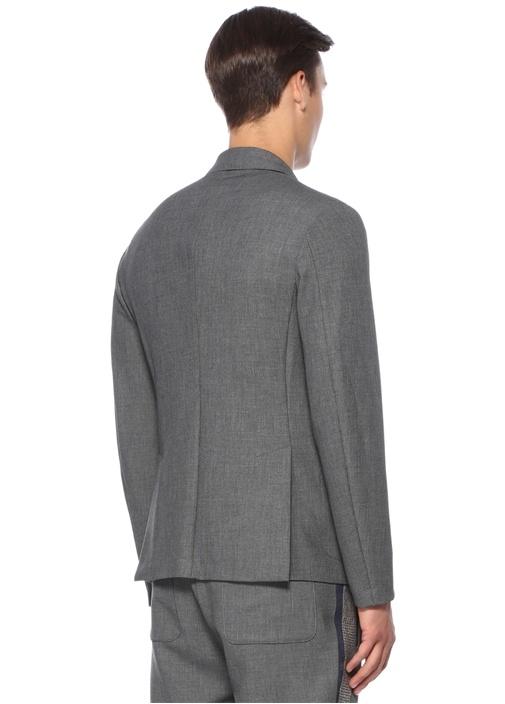 Gri Kelebek Yaka Dokulu Jersey Ceket