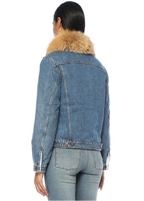 Peluş Yaka İçi Shearling Detaylı Jean Ceket