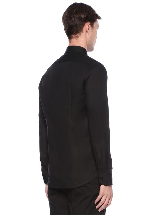 Siyah İngiliz Yaka Düğme Kapatmalı Gömlek