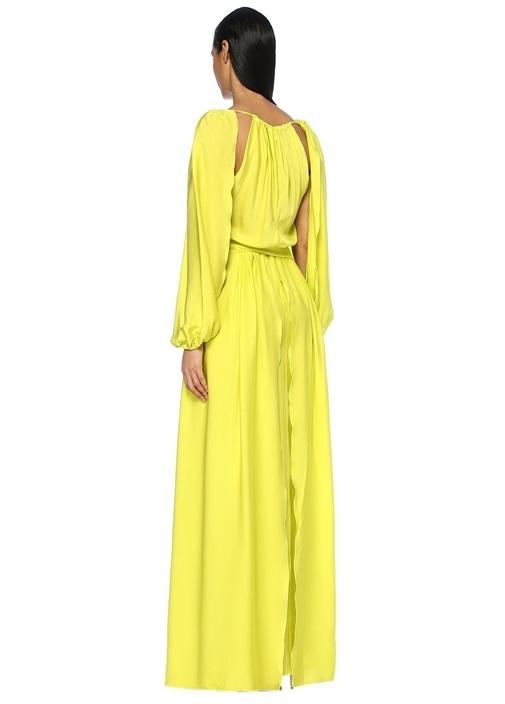 Neon Sarı Kol Detaylı Maxi İpek Elbise