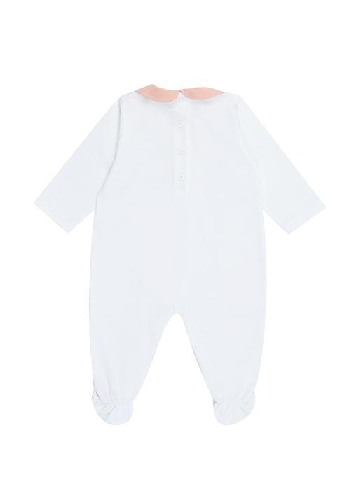 Beyaz Bebe Yaka Logolu Kız Bebek Tulum