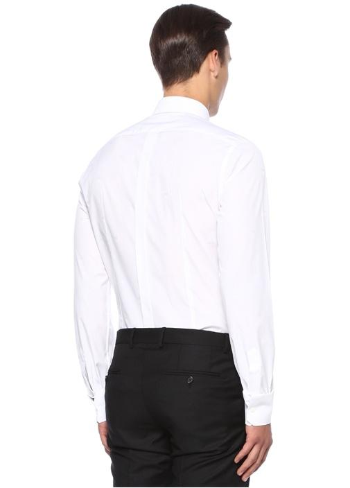 Gold Beyaz İngiliz Yaka Logo Baskılı Gömlek