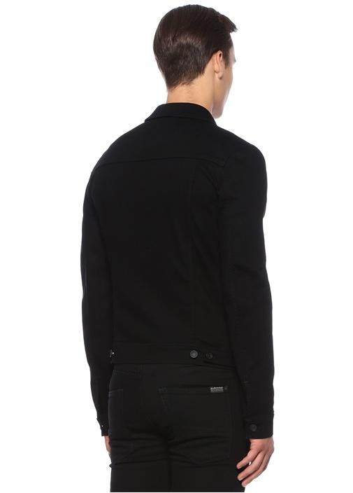 Siyah İngiliz Yaka Logolu Denim Ceket