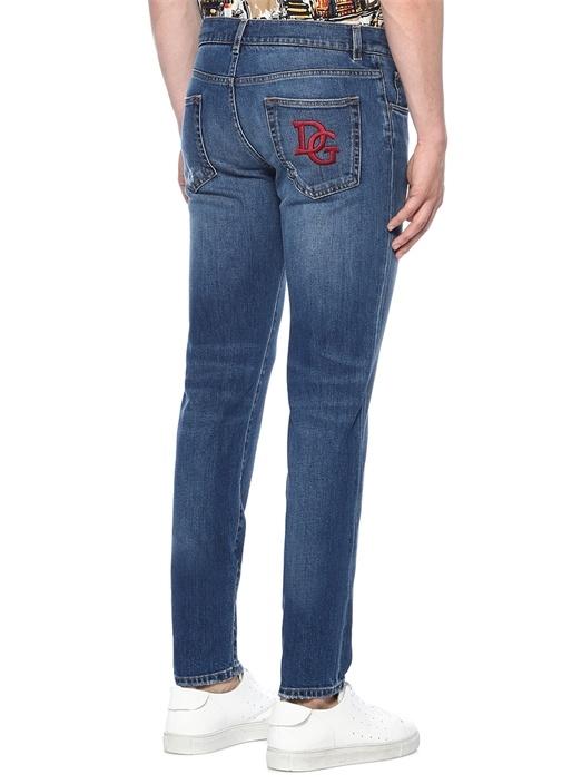 Slim Fit Logo Nakışlı Lacivert Jean Pantolon