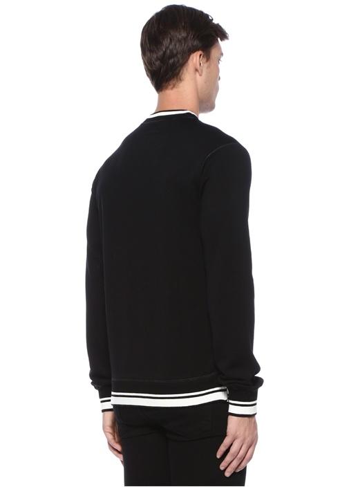Siyah Logo Baskılı Ribli Sweatshirt