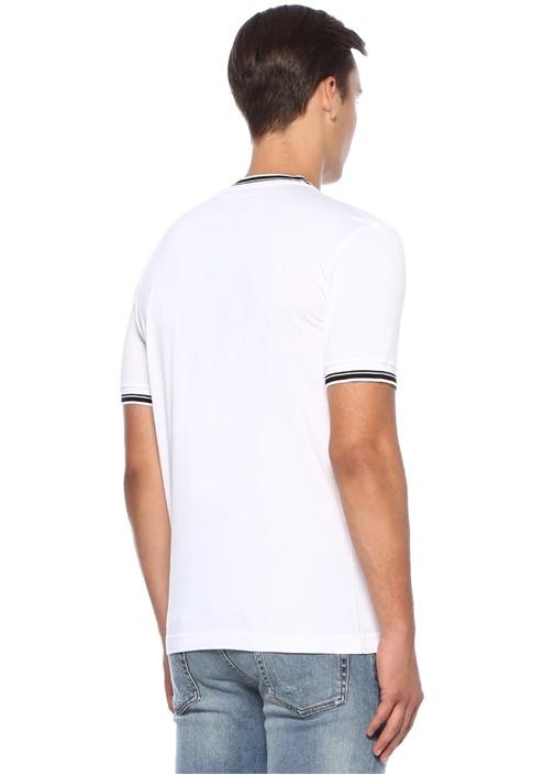 Beyaz Logo Baskılı Basic T-shirt