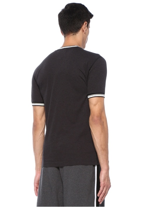 Antrasit Bisiklet Yaka Logo Baskılı Basic T-shirt