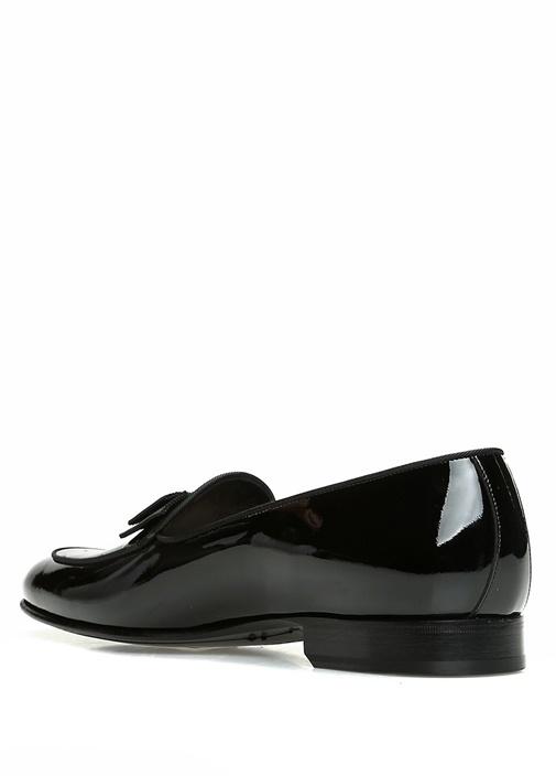 Siyah Fiyonklu Taşlı Erkek Deri Smokin Ayakkabısı