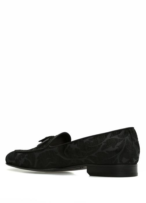 Siyah Etnik Desen İşlemeli Smokin Ayakkabısı