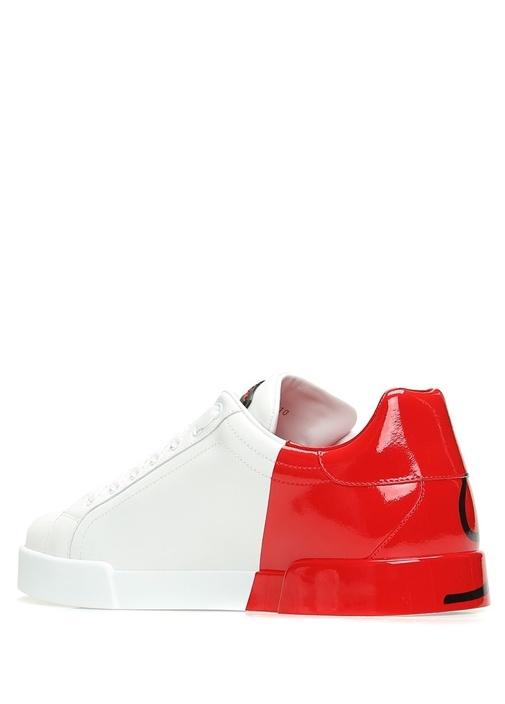 Beyaz Kırmızı Logolu Erkek Deri Sneaker