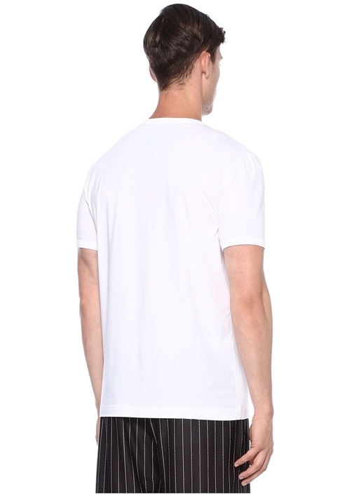 Beyaz Logo Nakışlı Basic T-shirt